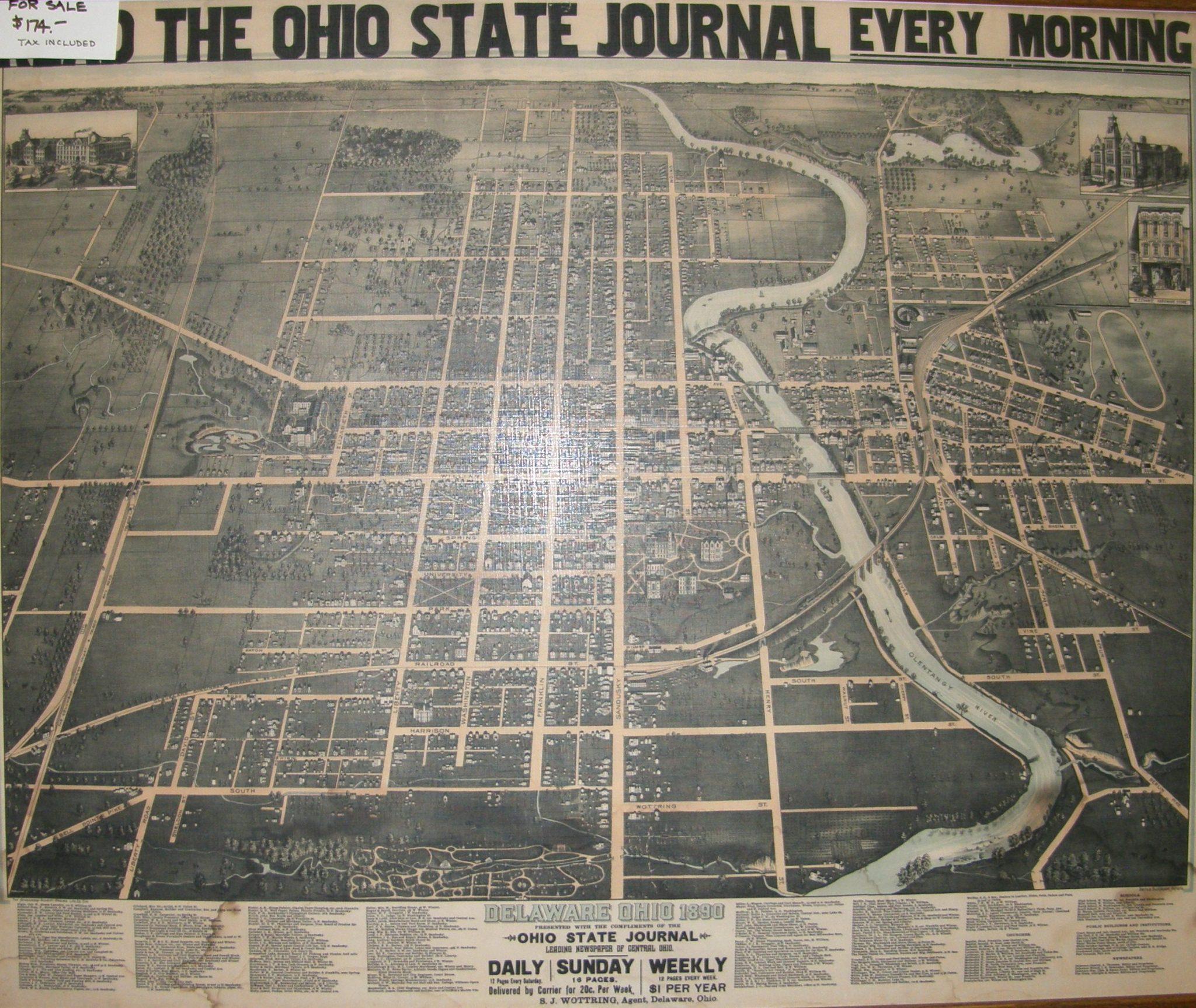 Historical Map 1890 Delaware City Ohio Delaware County