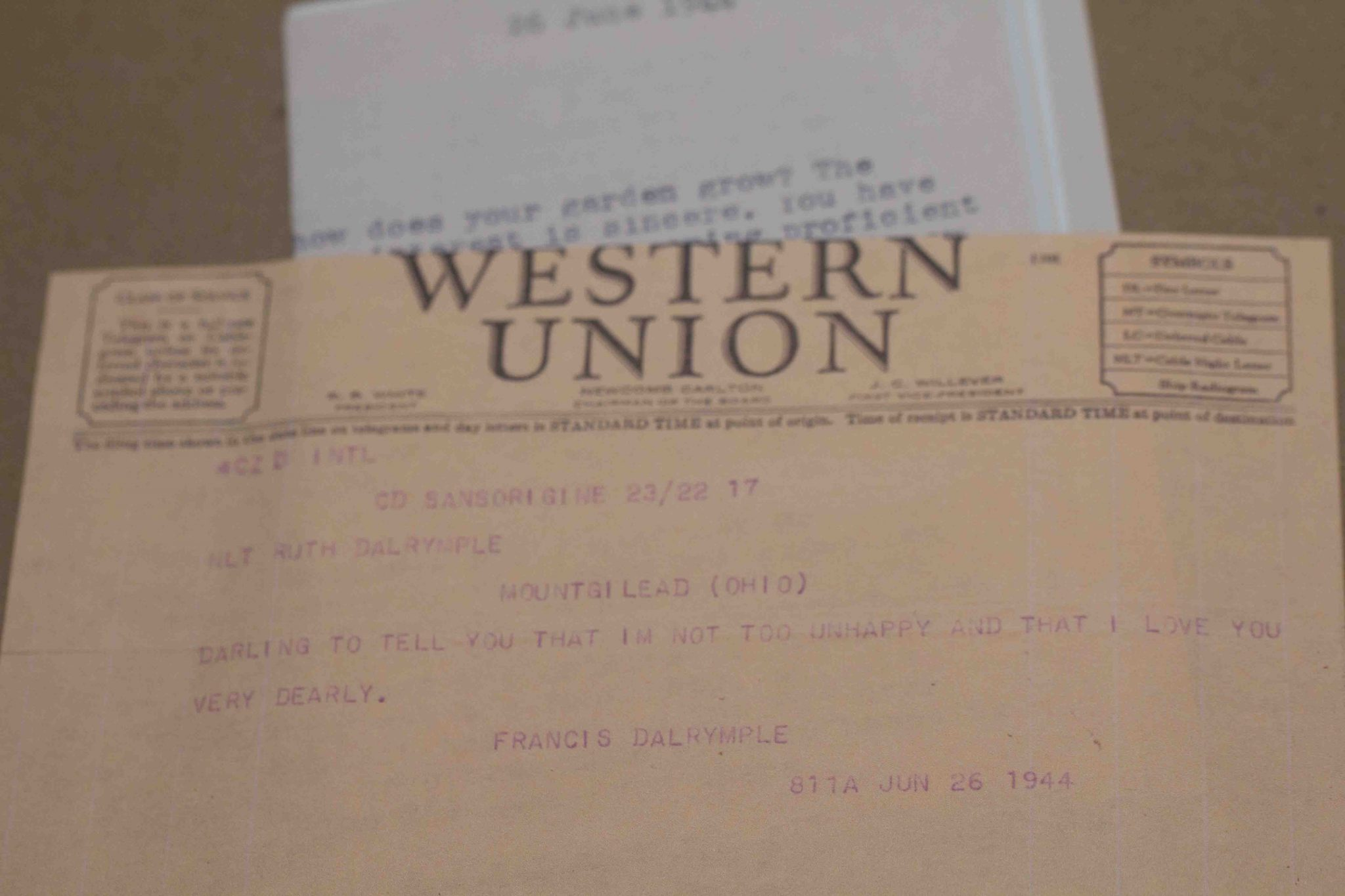One of Pete's many telegrams