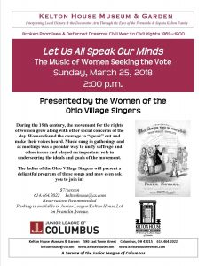Suffrage Program - Kelton House - Columbus Ohio