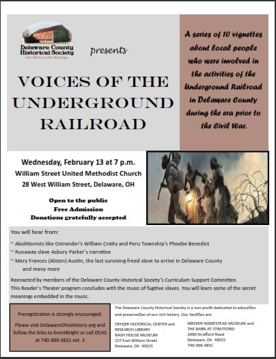 Voices of the Underground Railroad - Local History Program - Delaware County Historical Society - Delaware Ohio