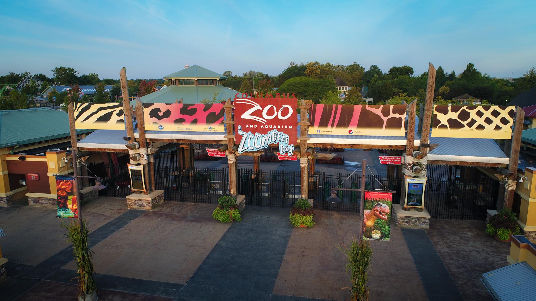 Entrance to Columbus Zoo and Aquarium and Zoombezi Bay adventure park